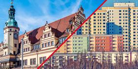 Altstadt und Plattenbauten