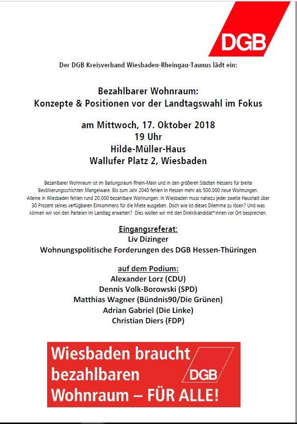 Dgb Region Frankfurt Rhein Main Wiesbaden Bezahlbarer Wohnraum