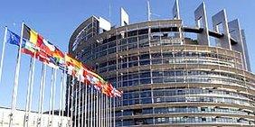 EU-Flagge und die Flaggen der Mitgliedsstaaten der EU wehend vor dem Gebäude des EU-Parlaments
