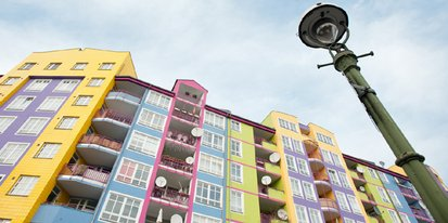 Gebäude, Häuser und eine Straßenlaterne