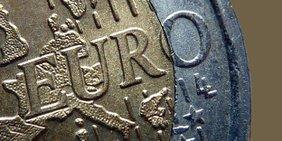 Nahaufnahme einer Euromünze